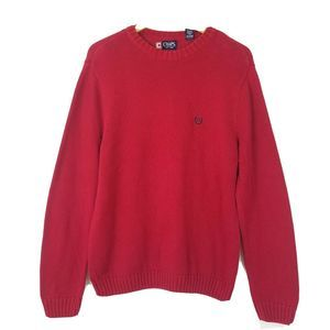 Chaps Red Knit Sweater Pullover cotton Top sz M